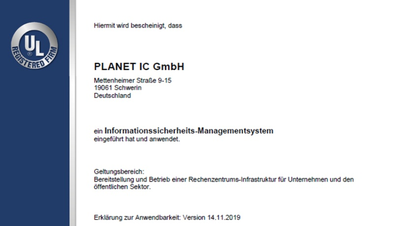 PLANET IC - Rechenzentrum nach ISO 27001 zertifiziert